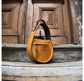 Leather bag purse in Camel colour with additional shoulder bag, stylish bag made by polish designers
