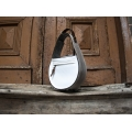 Stylish leather purse in White and Grey colour Inez, natural leather bag from new collection made by Ladybuq Art