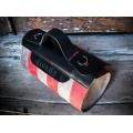 Sac en cuir en trois couleurs Meggy fabriqué par Ladybuq Art dans les couleurs Framboise, Gris et Noir