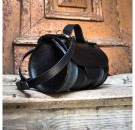 Torebka skórzana podręczna torba na ramię Meggy od Ladybuq w kolorze Malinowym, Szarym oraz Czarnym