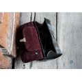 Leather handy bag shoulder purse Meggy made by Ladybuq in Raspberry, Grey and Black colours