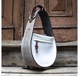 Stylowa skórzana torba Biało Szara Inez, torebka z naturalnej skóry z nowej kolekcji od Ladybuq Art