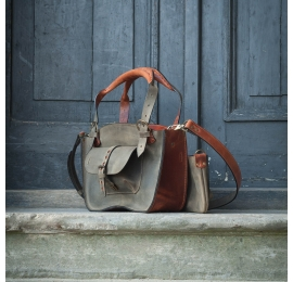 Natural leather bag Kuferek in Ginger and Khaki colour made by Ladybuq Art