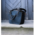 Leather bag Kuferek purse in Navy Blue and Black stylish bag made by Ladybuq Art