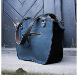 Torba skórzana torebka Kuferek w kolorach Granatowym oraz Czarnym stylowa torba od Ladybuq Art