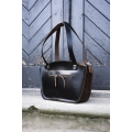 black leather bag with brown accents unique purse made by ladybuq art