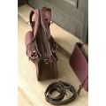Leather bag purse made by polish designers from ladybuq art in plum and dark brown colours