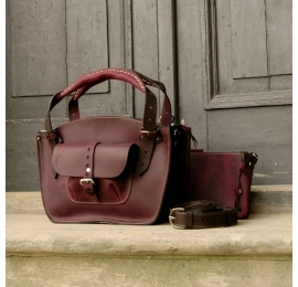Stylish leather bag Kuferek in Plum and Dark Brown colours made by Ladybuq Art