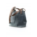 leather original bag made by ladybuq in grey and light brown colours