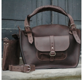 Leather bag made by Ladybuq in Chocolate Brown colour original polish designers bag