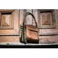 original leather bag purse from new collection made by ladybuq art in khaki and ginger colours