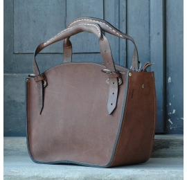 Handmade natural leather tote oversize bag in beautiful brown colour