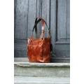 leather bag made out of natural leather handmade in ginger colour made by ladybuq art