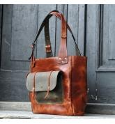 sac en cuir fabriqué à partir de cuir naturel fait à la main dans la couleur gingembre faite par art Ladybuq