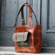 Large leather bag Angela in Ginger colour, perfect office bag made by Ladybuq Art