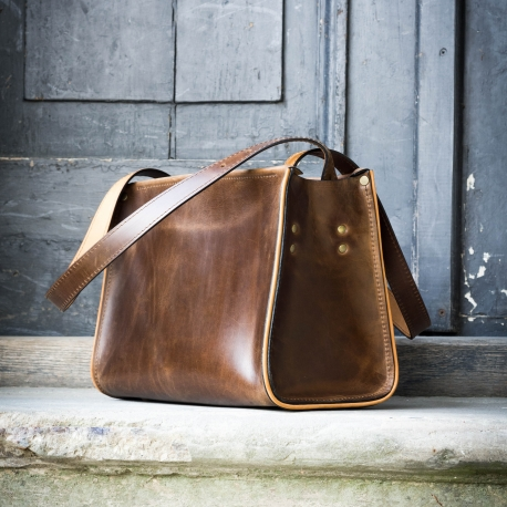 Leather handmade purse made by Ladybuq, chic bag in brown colour made by polish designers
