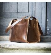 Skórzana ręcznie wykonana torba od Ladybuq, szykowna torebka w kolorze Brązowym od polskich projektantów