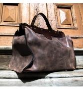 classic man bag doctor bag in brown colour cosuments tote made by Ladybuq Art