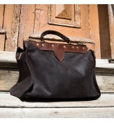 large leather mad handbag medical bag in vintage style made by Ladybuq Art in black colour