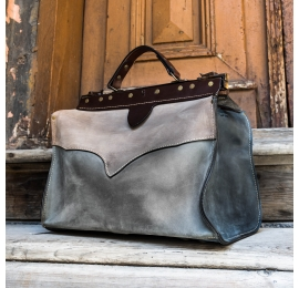 leather medical bag original vintage style bag in beige, grey and navy blue made by Ladybuq Art