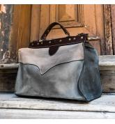leather medical bag original vintage style bag in beige, grey and navy blue made by Ladybuq Art