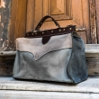 Leather medical man bag in classic vintage style in Grey, Beige and Navy Blue made by Ladybuq Art