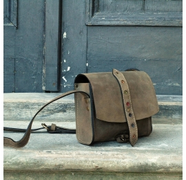 Natural leather small cross-body bag khaki made by Ladybuq Art