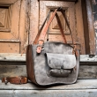 Leather laptop bag made by Ladybuq in Grey and Ginger colours with laptop and documents compartment