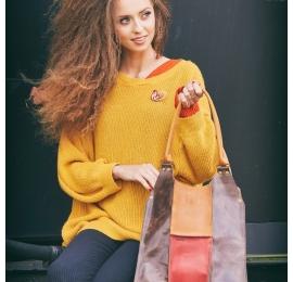 Stylowa torba podróżna od Ladybuq idealna do pracy lub na zakupy kolorowa skórzana torebka