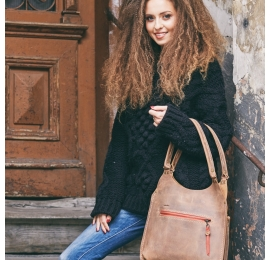 Leather bag in Light Brown colour Small LAdybuq made by hand out of highest quality natural leather