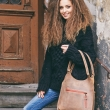 Brown shopper bag will fit all the necessities leather bag made by Ladybuq Art