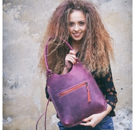 Original leather bag Small Ladybuq in Claret colour made by polish designers Ladybuq Art Studio