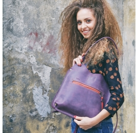 Leather handmade bag Small Ladybuq in Plum colour made by Ladybuq Art
