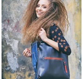 Czarna skórzana torba Mała Ladybuq piękna, szykowna, elegancka torba na każdą okazję od Ladybuq Art
