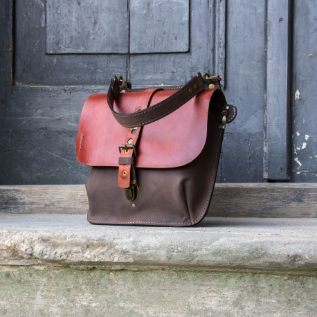 Leather bag and purse Molly bigger size - cognac and brown colour