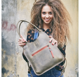 Handy leather bag Small Ladybuq in Khaki colour original handmade by Ladybuq Art