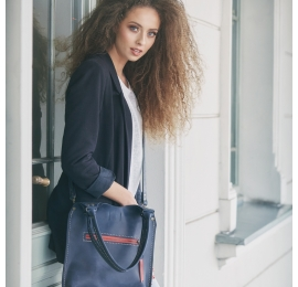 Leather bag in Navy Blue colour original Small Ladybuq made by hand out of high quality natural leather