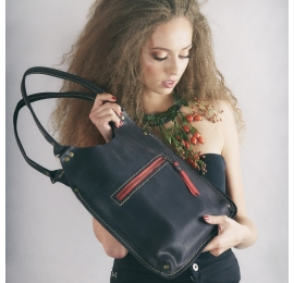 Leather bag in Black Matte colour made by Ladybuq Art made by hand out of high quality natural leather