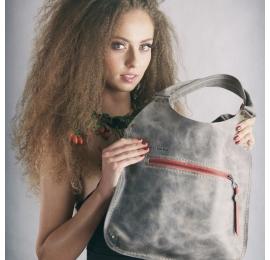 Ręcznie wykonana skórzana torba Mała Ladybuq w kolorze Szarym piękna i oryginalna torba na każdą okazję