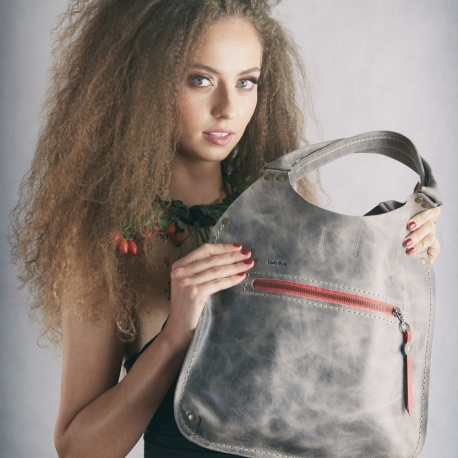 Handmade leather bag Small Ladybuq in Grey colour beautiful and original every occasion bag