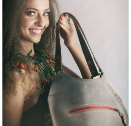 Handmade leather bag Small Ladybuq in Dark Beige colour made by Ladybuq Art