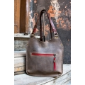 bag in dark beige colour with red accents and long shoulder strap