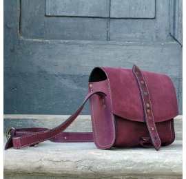 Small crossbody bag in unique Claret colour entirely made out of natural leather by Ladybuq Art