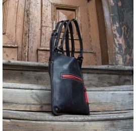 Bag in Black Matt colour stylish Small Ladybuq with accents in red colour with long strap