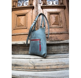 Leather bag Small Ladybuq in Grey colour with exterior pocket and long strap made by Ladybuq Art