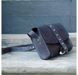 Graphite small crossbody purse made out of natural polish leather designed and made by Ladybuq Art