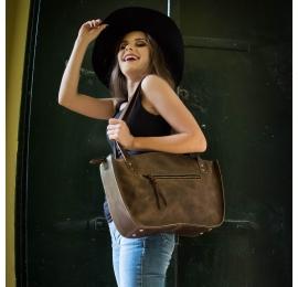 piękna brązowa skórzana torba od ladybuq art wykonana recznie z wysokiej jakości skóry