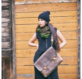 Leather Laptop bag Big Ann in Vintage Brown colour made by Ladybuq Art Studio