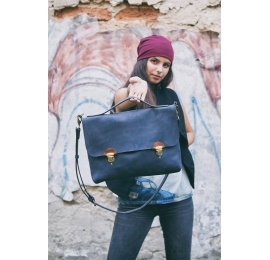 Original leather laptop and documents bag Large Ann in Navy Blue colour made by Ladybuq Art