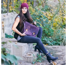 Leather bag made by Ladybuq for laptop and documents in Plum colour made by hand out of genuine leather